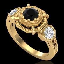 1.01 CTW Fancy Black Diamond Solitaire Art Deco 3 Stone Ring 18K Gold - 37466-REF-138M2R