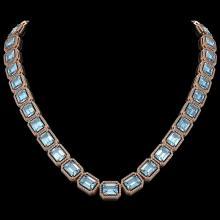 80.98 CTW Aquamarine & Diamond Halo Necklace 10K Rose Gold - REF-1317T3M - 41499