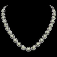 36.48 CTW Opal & Diamond Halo Necklace 10K White Gold - REF-685W6F - 41201