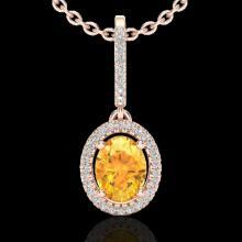 1.75 CTW Citrine & Micro Pave VS/SI Diamond Necklace Halo 14K Rose Gold - REF-51H8A - 20655