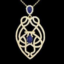 3.50 CTW Tanzanite & Micro VS/SI Diamond Heart Necklace Solitaire 14K Yellow Gold - REF-191T3M - 21256