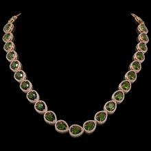 41.6 CTW Tourmaline & Diamond Halo Necklace 10K Rose Gold - REF-768W4F - 41208