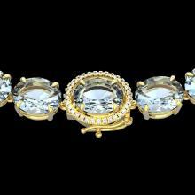 136 CTW Aquamarine & VS/SI Diamond Halo Micro Eternity Necklace 14K Yellow Gold - REF-1363N6Y - 22290