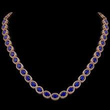 34.11 CTW Sapphire & Diamond Halo Necklace 10K Rose Gold - REF-537A5X - 40407