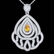 2 CTW Yellow Sapphire & Micro VS/SI Diamond Designer Necklace 18K White Gold - REF-178H2A - 21277