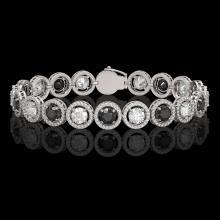 13.96 CTW Black & White Diamond Designer Bracelet 18K White Gold - REF-1428H2A - 42608