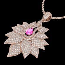 3 CTW Pink Sapphire & Micro Pave VS/SI Diamond Designer Necklace 14K Rose Gold - REF-227X3T - 22568