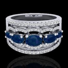2.25 CTW Sapphire & Micro Pave VS/SI Diamond Designer Ring 10K White Gold - REF-71N3Y - 20804