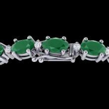 30.8 CTW Emerald & VS/SI Certified Diamond Eternity Bracelet 10K White Gold - REF-214W5F - 29450