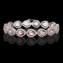 19.55 CTW Morganite & Diamond Halo Bracelet 10K White Gold - REF-480A4X - 41246