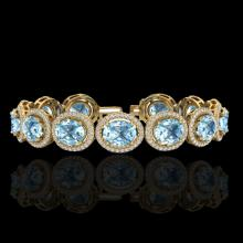 30 CTW Sky Blue Topaz & Micro Pave VS/SI Diamond Bracelet 10K Yellow Gold - REF-360Y2K - 22701