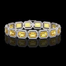 34.91 CTW Fancy Citrine & Diamond Halo Bracelet 10K White Gold - REF-336F4N - 41564