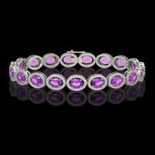 13.11 CTW Amethyst & Diamond Halo Bracelet 10K White Gold - REF-229T3M - 40490