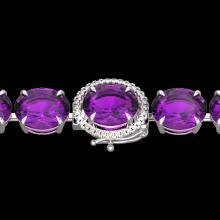78 CTW Amethyst & Micro Pave VS/SI Diamond Halo Bracelet 14K White Gold - REF-256X8T - 22249