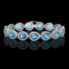 20.3 CTW Swiss Topaz & Diamond Halo Bracelet 10K White Gold - REF-286K2W - 41267