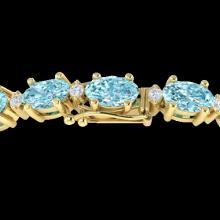 25.8 CTW Sky Blue Topaz & VS/SI Certified Diamond Eternity Bracelet 10K Yellow Gold - REF-118W4F - 29468