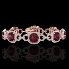 30 CTW Garnet & Micro VS/SI Diamond Bracelet 14K Rose Gold - REF-368N9Y - 23024