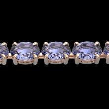 24 CTW Tanzanite Eternity Designer Inspired Tennis Bracelet 14K Rose Gold - REF-218F2N - 23396