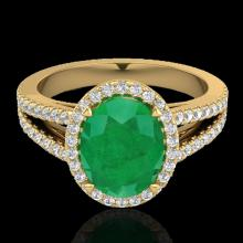 Genuine 3.0 CTW Emerald & Micro Pave Diamond Halo Solitaire Bridal Ring 18K Gold - 20939-REF#57F8M
