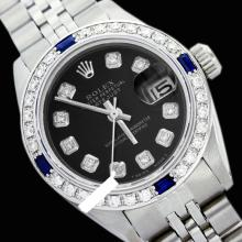 Rolex Ladies Stainless Steel, Diam Dial & Diam/Sapphire Bezel, Saph Crystal - REF#338H2T
