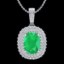 3.15 CTW Emerald & Micro Pave VS/SI Diamond Halo Necklace 18K White Gold - REF-90X9T - 20413