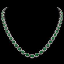 34.11 CTW Emerald & Diamond Halo Necklace 10K White Gold - REF-562A9X - 40400