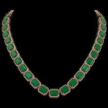 84.94 CTW Emerald & Diamond Halo Necklace 10K Rose Gold - REF-1000M5H - 41475