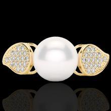 0.27 CTW Micro Pave VS/SI Diamond & Pearl Designer Ring 18K Yellow Gold - REF-45H3A - 22645
