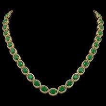 52.15 CTW Emerald & Diamond Halo Necklace 10K Yellow Gold - REF-655N3Y - 40555