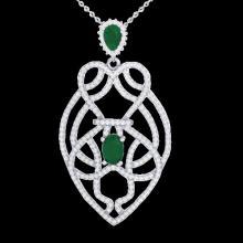3.50 CTW Emerald & Micro VS/SI Diamond Heart Necklace Solitaire 14K White Gold - REF-179H6A - 21248