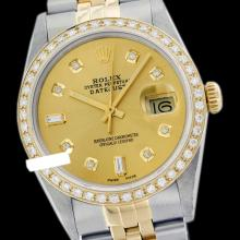 Rolex Men's 2Tone 14K Gold/ SS , QuickSet, Diamond Dial & Diamond Bezel - REF#463M6K