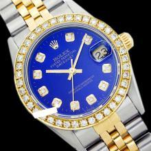 Rolex Men's 2Tone 14K Gold/ SS, QuickSet, Diamond Dial & Diamond Bezel - REF#458Z2F