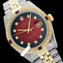 Rolex Men's 2Tone 14K Gold/ SS, QuickSet, Diam Dial & Diam/Ruby Bezel - REF#458A2M