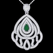 2 CTW Emerald & Micro Pave VS/SI Diamond Designer Necklace 18K White Gold - REF-178H2A - 21261