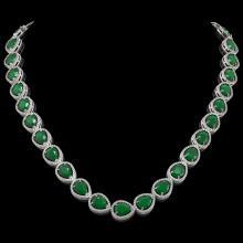 64.01 CTW Emerald & Diamond Halo Necklace 10K White Gold - REF-838M2H - 41186