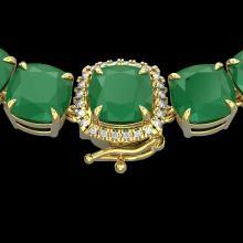 116 CTW Emerald & VS/SI Diamond Halo Micro Solitaire Necklace 14K Yellow Gold - REF-467A3X - 23343