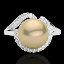 0.27 CTW VS/SI Diamond & Golden Pearl Designer Ring 18K White Gold - REF-50M8H - 22618