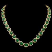 64.01 CTW Emerald & Diamond Halo Necklace 10K Yellow Gold - REF-838X2T - 41188
