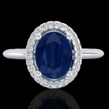Natural 2.0 CTW Sapphire & Micro Pave Diamond Bridal Ring Solitaire Halo 18K Gold - 21020-REF#43T9X