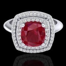 Natural 1.50 CTW Ruby & Micro Pave Diamond Certified Pave Halo Ring 18K Gold - 20766-REF#69A5N