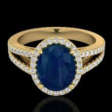 Natural 3.0 CTW Sapphire & Micro Pave Diamond Halo Solitaire Bridal Ring 18K Gold - 20950-REF#55H8R