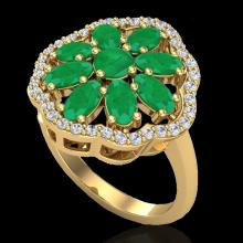 Natural 4.0 CTW Emerald & Diamond Certified Cluster Designer Halo Ring Gold - 20780-REF#45R5Z