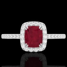 Natural 1.25 CTW Ruby & Micro Pave Diamond Certified Halo Ring 10K Gold - 22908-REF#25M8H