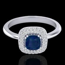 Genuine 1.16 CTW Sapphire & Micro Pave Diamond Ring Solitaire Double Halo 18K Gold - 21035-REF#66H8R