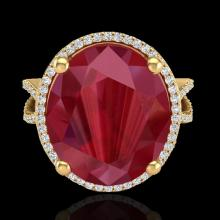 Natural 12 CTW Ruby & Micro Pave Diamond Certified Halo Ring 18K Gold - 20966-REF#95F3M