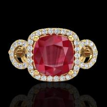 Genuine 3.15 CTW Ruby & Micro Pave Diamond Certified Ring 18K Gold - 23009-REF#69A2N