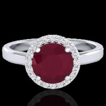 Genuine 2.0 CTW Ruby & Halo Diamond Micro Pave Ring Solitaire Bridal 18K Gold - 21641-REF#49Z3Y