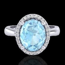 2.50 CTW Aquamarine & Micro Pave VS/SI Diamond Ring Halo 18K White Gold - REF-60N4Y - 21095