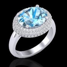 5 CTW Sky Blue Topaz & Micro Pave VS/SI Diamond Ring 18K White Gold - REF-98T8M - 20908