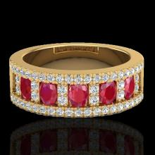 2.34 CTW Ruby & Micro Pave VS/SI Diamond Designer Inspired Ring 10K Yellow Gold - REF-67M3H - 20827